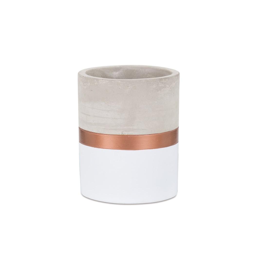 Porta Lápis Branco e Cobre em Cimento - Pequeno