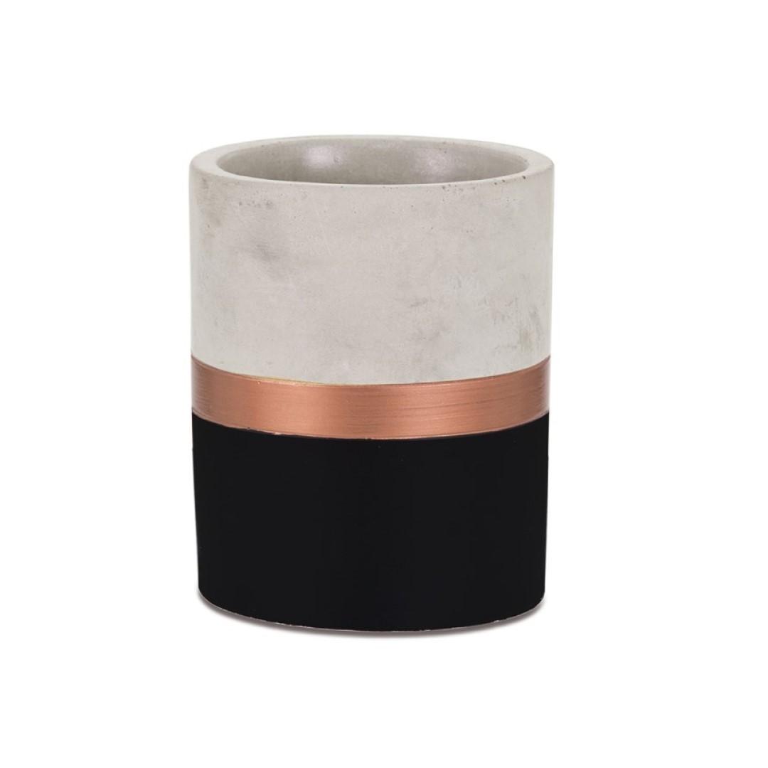 Porta Lápis Preto e Cobre em Cimento - Médio