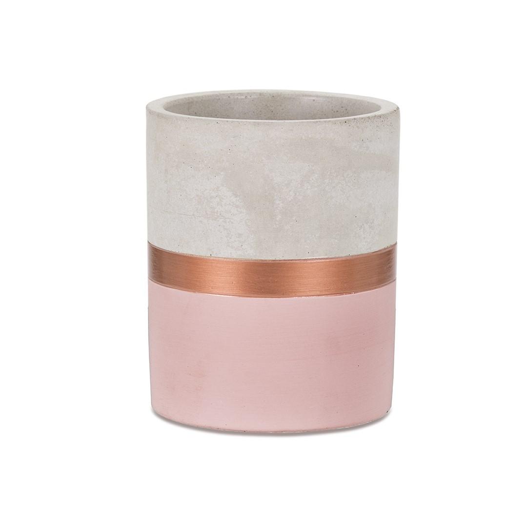 Porta Lápis Rosa e Cobre em Cimento - Médio