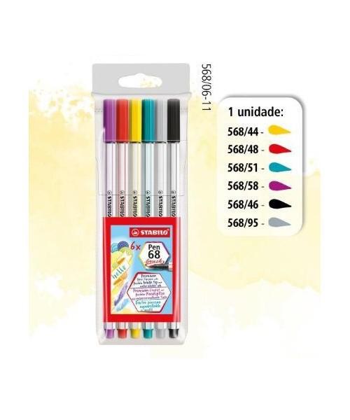 Stabilo 68 Brush Pen Estojo c/6