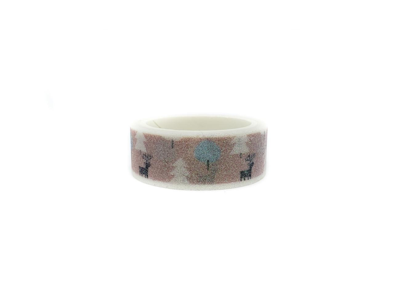 Washi tape Pink Snow com glitter