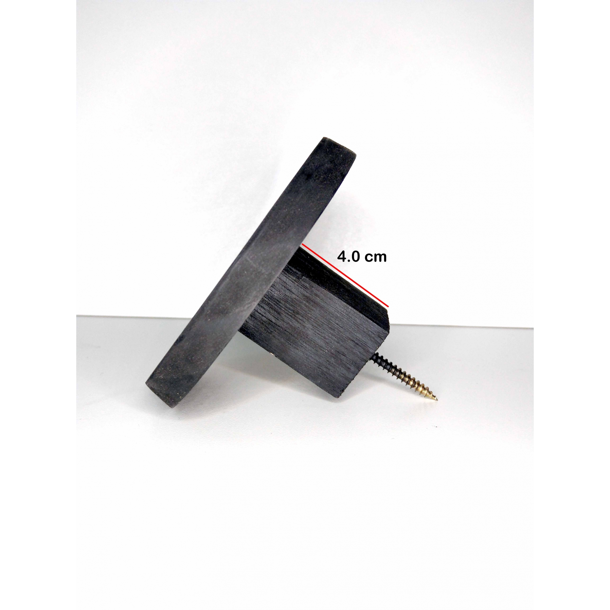 Cabide de Madeira Redondo Pinus Preto 9,5 cm Diâmetro - Unidade