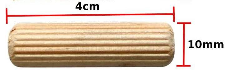 Cavilha madeira estriada 10 mm - 50 pcs