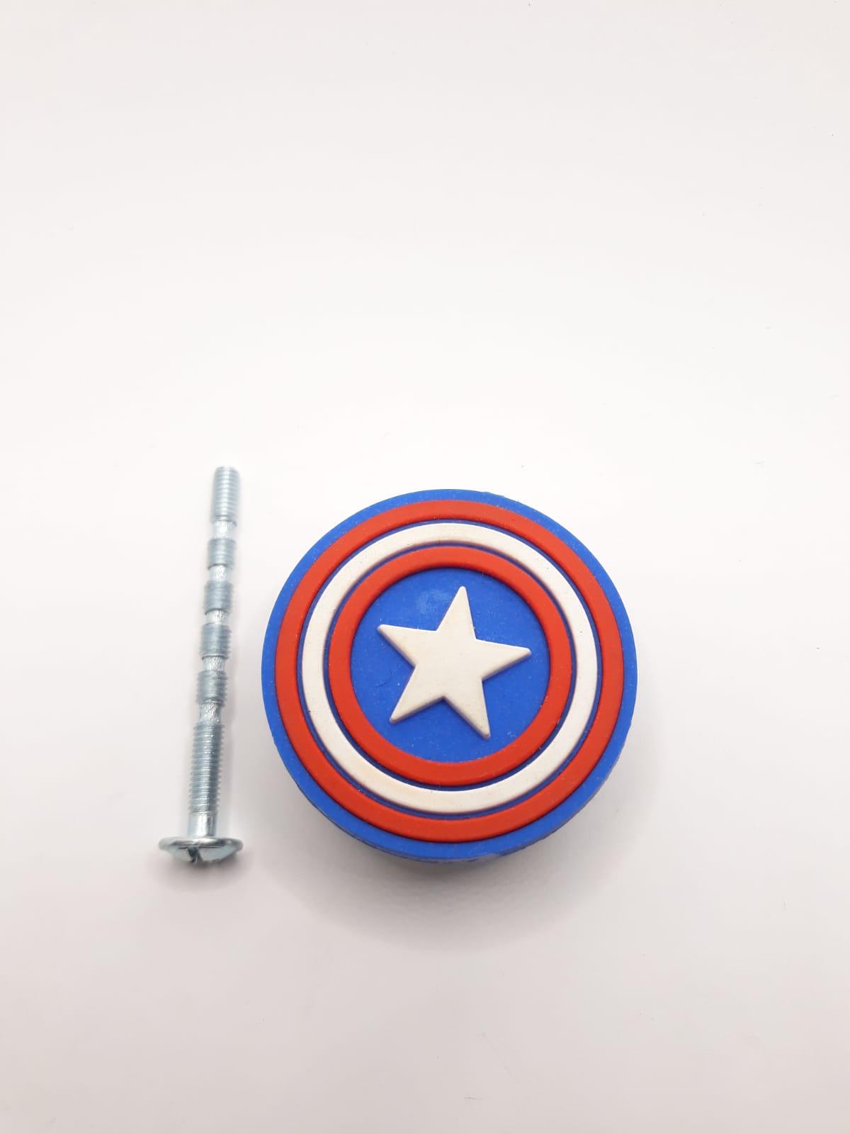 Puxador gaveta infantil emborrachado Escudo Capitão América Marvel