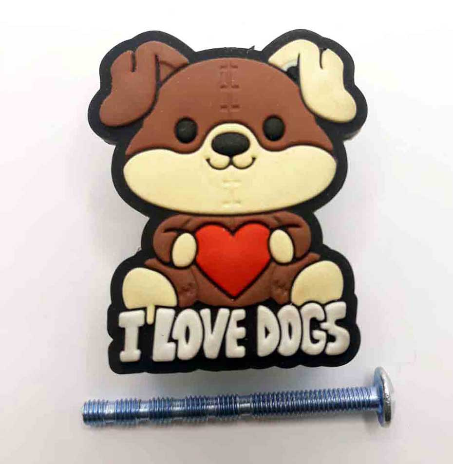 Puxador gaveta infantil Emborrachado I LOVE DOGS