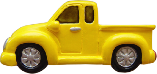 Puxador Infantil Resina Caminhonete Amarela