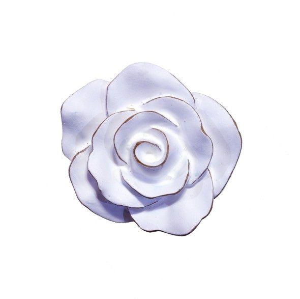 Puxador Infantil Resina Flor Provençal Branca