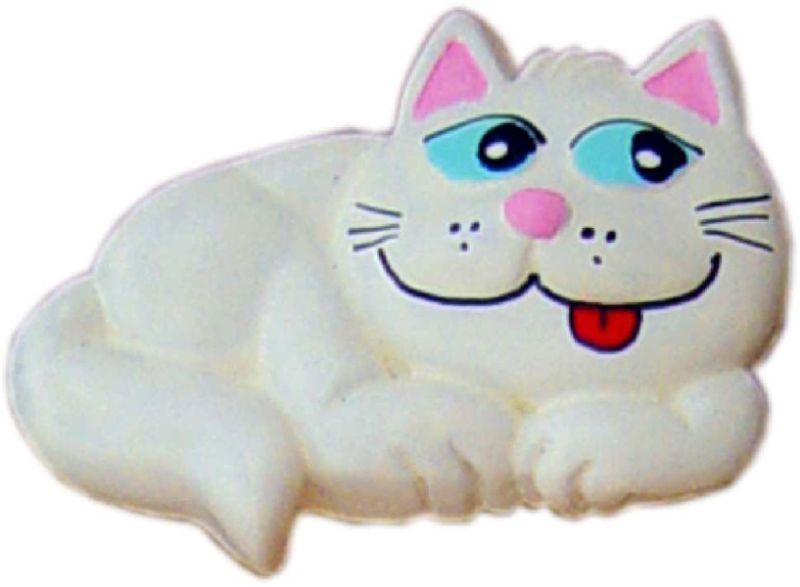 Puxador Infantil Resina Gato Branco