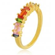 Anel Aparador Aliança Colorido Dourado Duquesa Semi joias