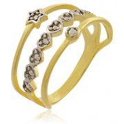 Anel Estrela 3 tiras Zircônia Dourado Duquesa Semi joias