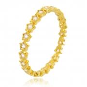 Anel Estrelas com Zircônia Cristal Dourado Duquesa Semi joia