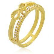 Anel Infinito Cravejado Zircônia Dourado Duquesa Semi joias