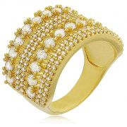 Anel Camadas Pedras Zircônia Dourado Duquesa Semi joias