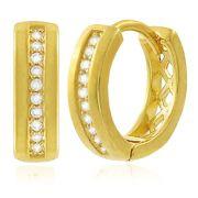 Brinco Argola P Zircônia Cristal Dourado Duquesa Semi joias