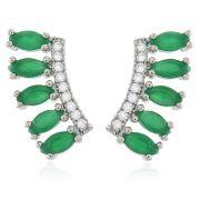 Brinco Ear Cuff Verde Esmeralda Prateado Duquesa Semi joias