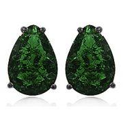 Brinco Gota Pedra Fusion Verde Ródio Negro Duquesa Semi joia