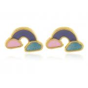 Brinco Infantil Arco íris Esmaltado Dourado Duquesa Semijoia