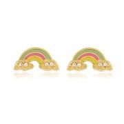 Brinco Infantil Arco íris Zircônia Dourado Duquesa Semi joia