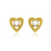 Brinco Infantil Coração Mini Dourado Duquesa Semi joia
