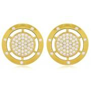 Brinco Luxo Cravejado em Zircônia Dourado Duquesa Semi joias