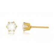 Brinco Ponto Luz P 4 mm Zircônia Dourado Duquesa Semi joias
