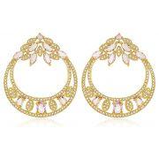 Brinco Luxo Zircônia Cristal Rosa Dourado Duquesa Semi joias