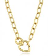 Colar Corrente Grossa Elo Coração Dourado Duquesa Semi joias