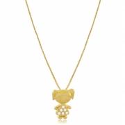 Colar Filha Menina Pedra Zircônia Dourado Duquesa Semi joias