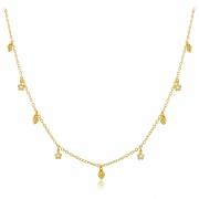 Colar Coração Flor Pingentes Dourado Duquesa Semi joias