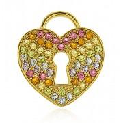 Pingente Coração Cravejado Color Dourado Duquesa Semi joias