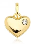 Pingente Coração Maciço Zircônia Dourado Duquesa Semi joias