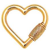Pingente Coração Mosquetão M Dourado Duquesa Semi joias