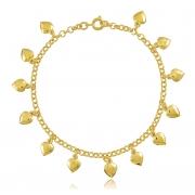 Pulseira com Pingentes de Coração Dourada Duquesa Semi joias