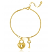 Pulseira Pingentes Cadeado Chave Dourada Duquesa Semi joias
