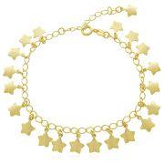 Pulseira Pingente Estrela Textura Dourado Duquesa Semi joias