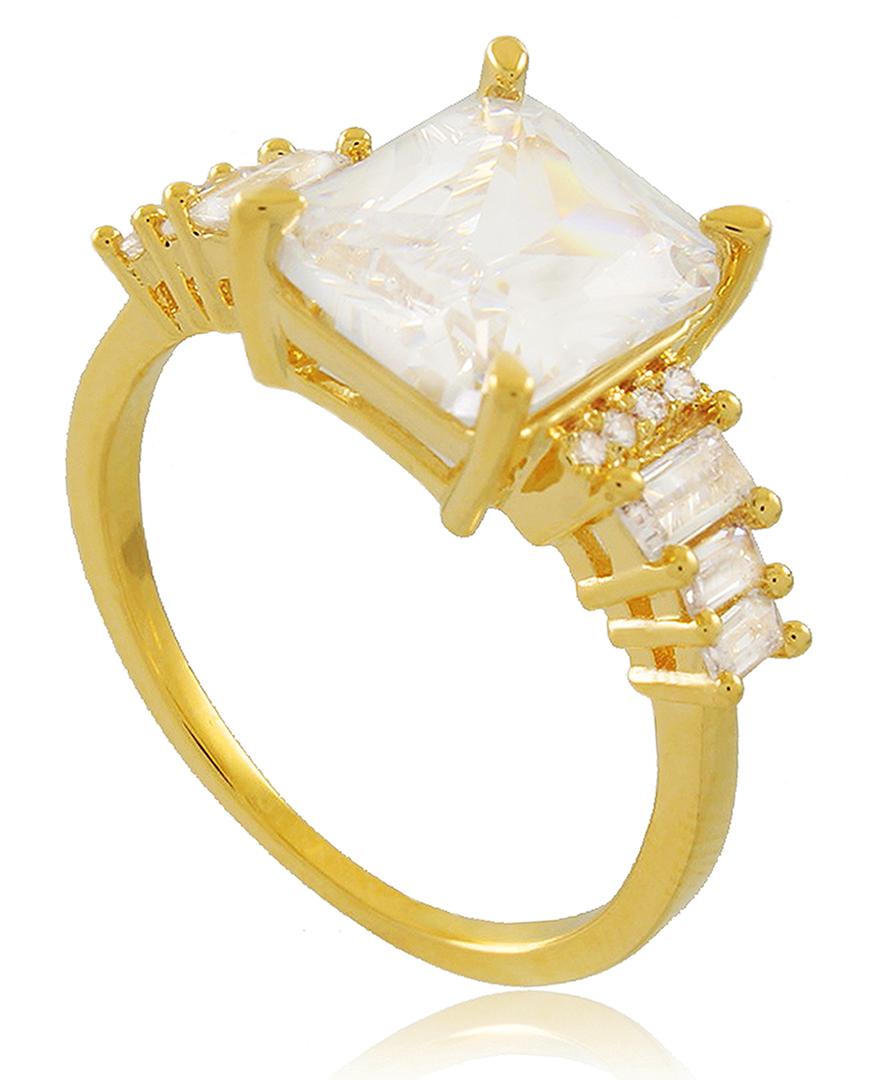 Anel Alto Luxo Zircônia Quadrada Dourado Duquesa Semi joia