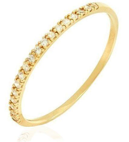 Anel Aparador Fino Cravejado Dourado Duquesa Semi joias