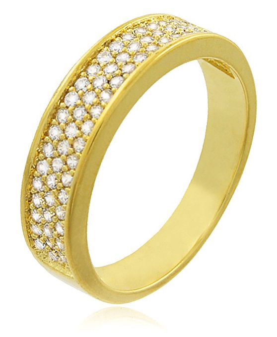 Anel Aparador Aliança Zircônia Dourado Duquesa Semi joias