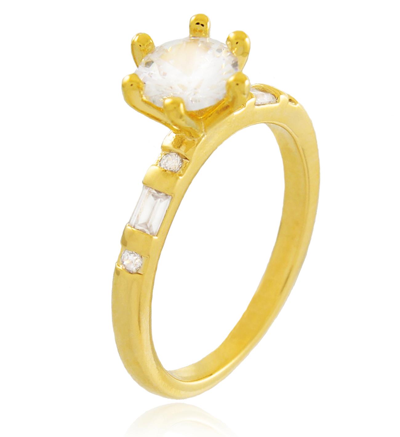 Anel Solitário Zircônia Cristal Dourado Duquesa Semi joias