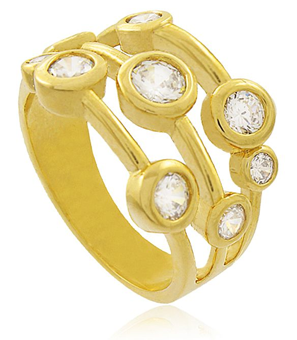 Anel Círculos Zircônia Cristal Dourado Duquesa Semi joias