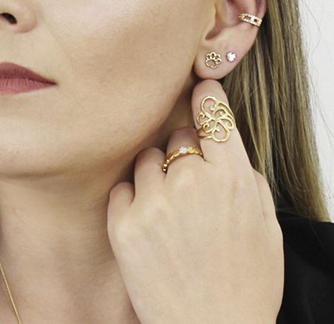 Anel Círculos Micro Zircônia Dourado Duquesa Semi joias