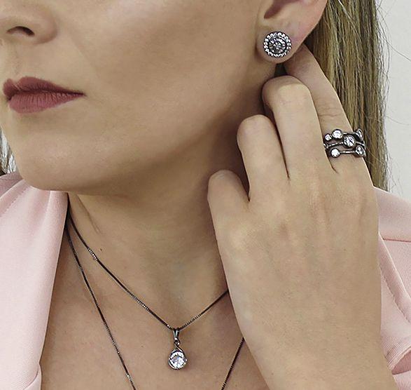 Anel Círculos Zircônia Cristal Negro Duquesa Semi joias