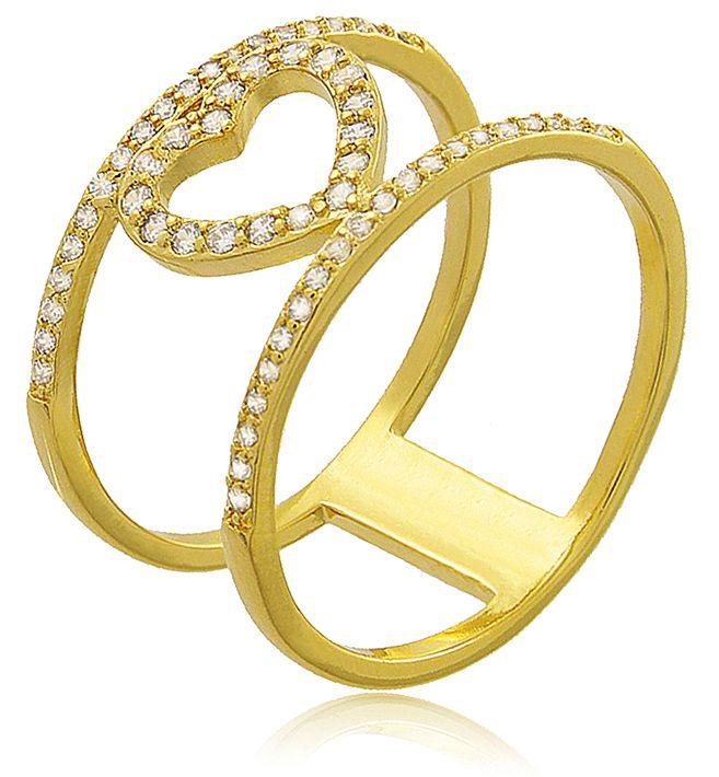 Anel Coração Cravejado Zircônia Dourado Duquesa Semi joias