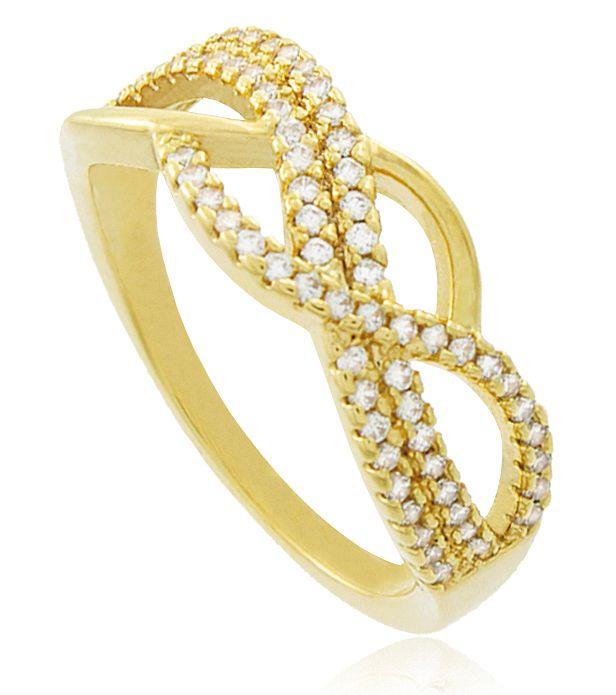 Anel Delicado Cravejada Zircônia Dourado Duquesa Semi joias