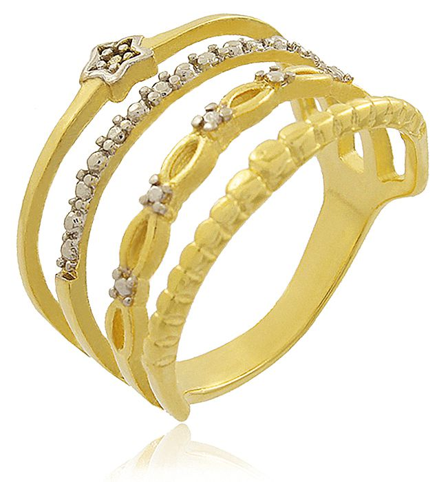 Anel Estrela 4 tiras Zircônia Dourado Duquesa Semi joias