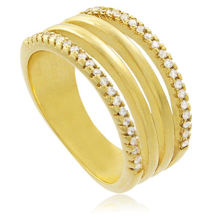 Anel Faixas Cravejado Zircônia Dourado Duquesa Semi joias