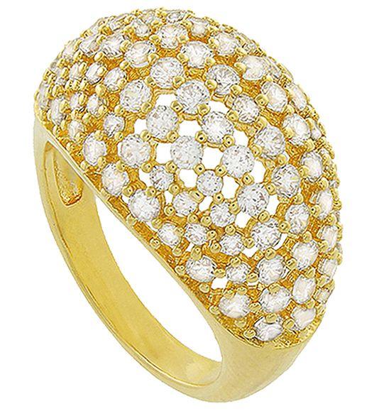 Anel Luxo Cravejado Zircônia Dourado Duquesa Semi joias