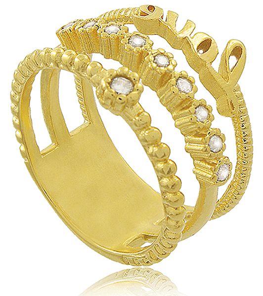 Anel Love 3 tiras Zircônia Cristal Dourado Duquesa Semi joia