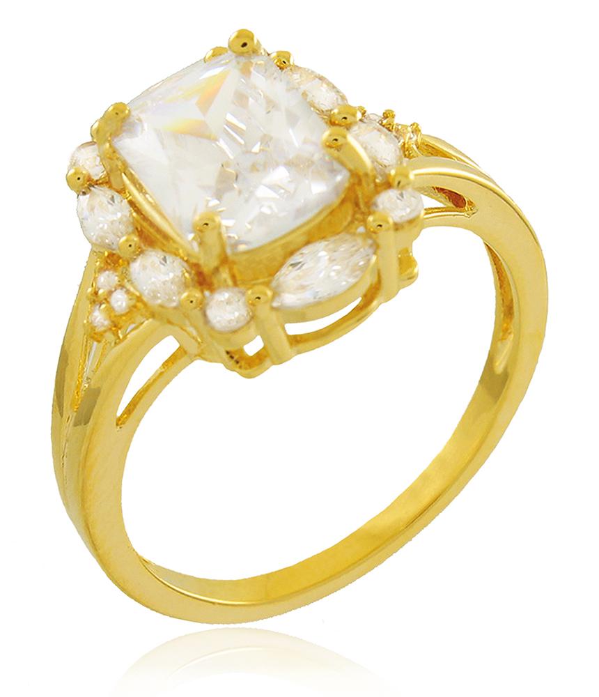 Anel Alto Luxo Zircônia Cristal Dourado Duquesa Semi joia