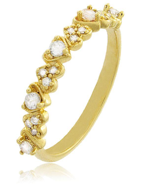 Anel Mini Coração Zircônia Dourado Duquesa Semi joias